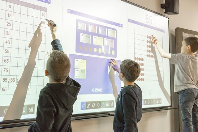 Tabla interactiva i3BOARD cu impartirea tablei in 4 zone de lucru independente