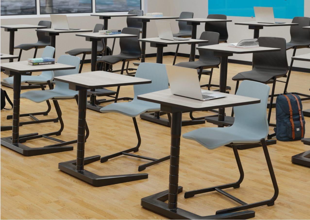 Bănci școlare - Aranjarea pe randuri in sala de clasa cu Masa Opti Plus