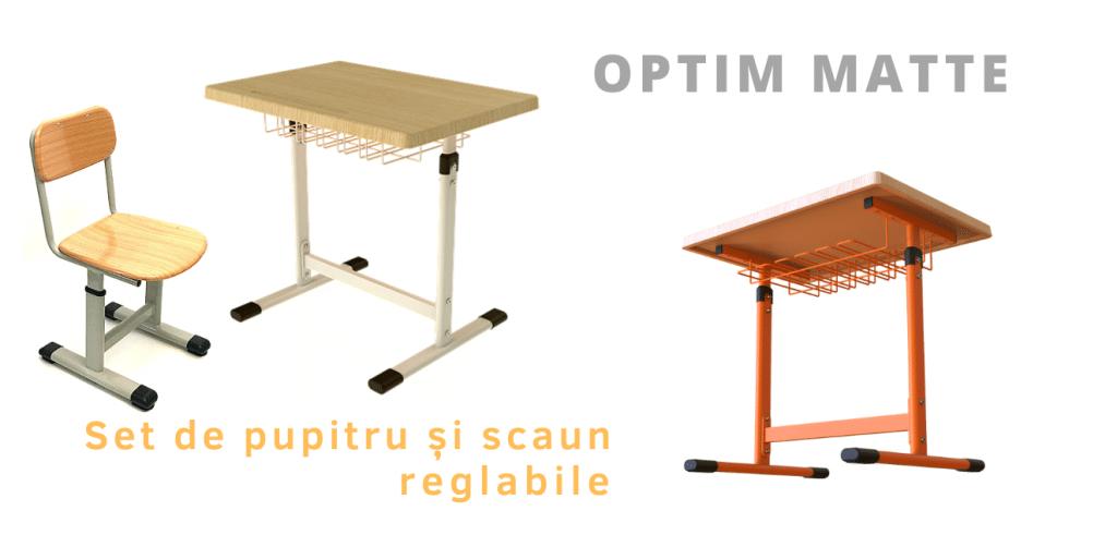 Set de mobilier scolar regalabil format din pupitru reglabil si scaun reglabil