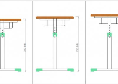 Dimensiuni masa - Set mobilier scolar reglabila Optim Matte