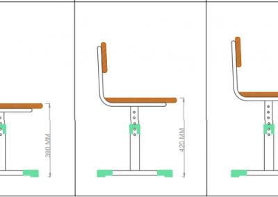 Dimensiuni scaun - SET MOBILIER SCOLAR REGLABIL